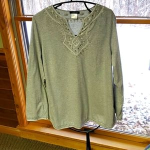 Lands End Sz 1X Grey Embroidered Tunic